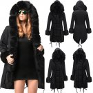 Plus Size Black Winter Parker Hannifin Coat Long Faux Fur Hooded Jacket Female Parka Garment