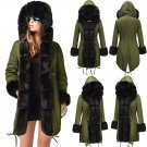 Green Winter Parker Hannifin Coat Long Fur Hooded Jacket Women Three-quarter Coat Parka