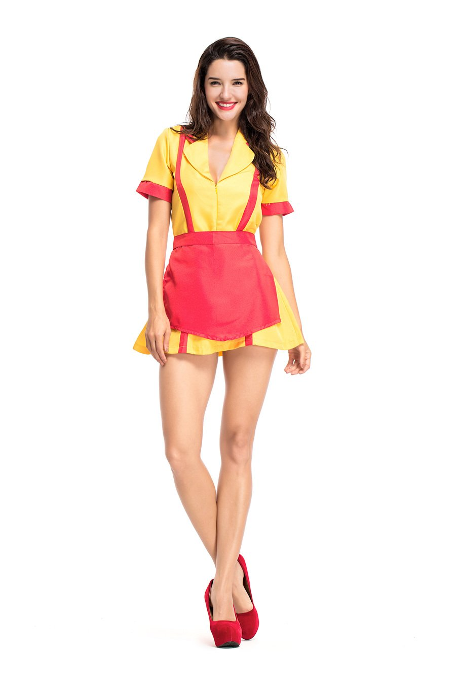 Yellow Color American Television Series 2 Broke Girls Role Cosplay Costume