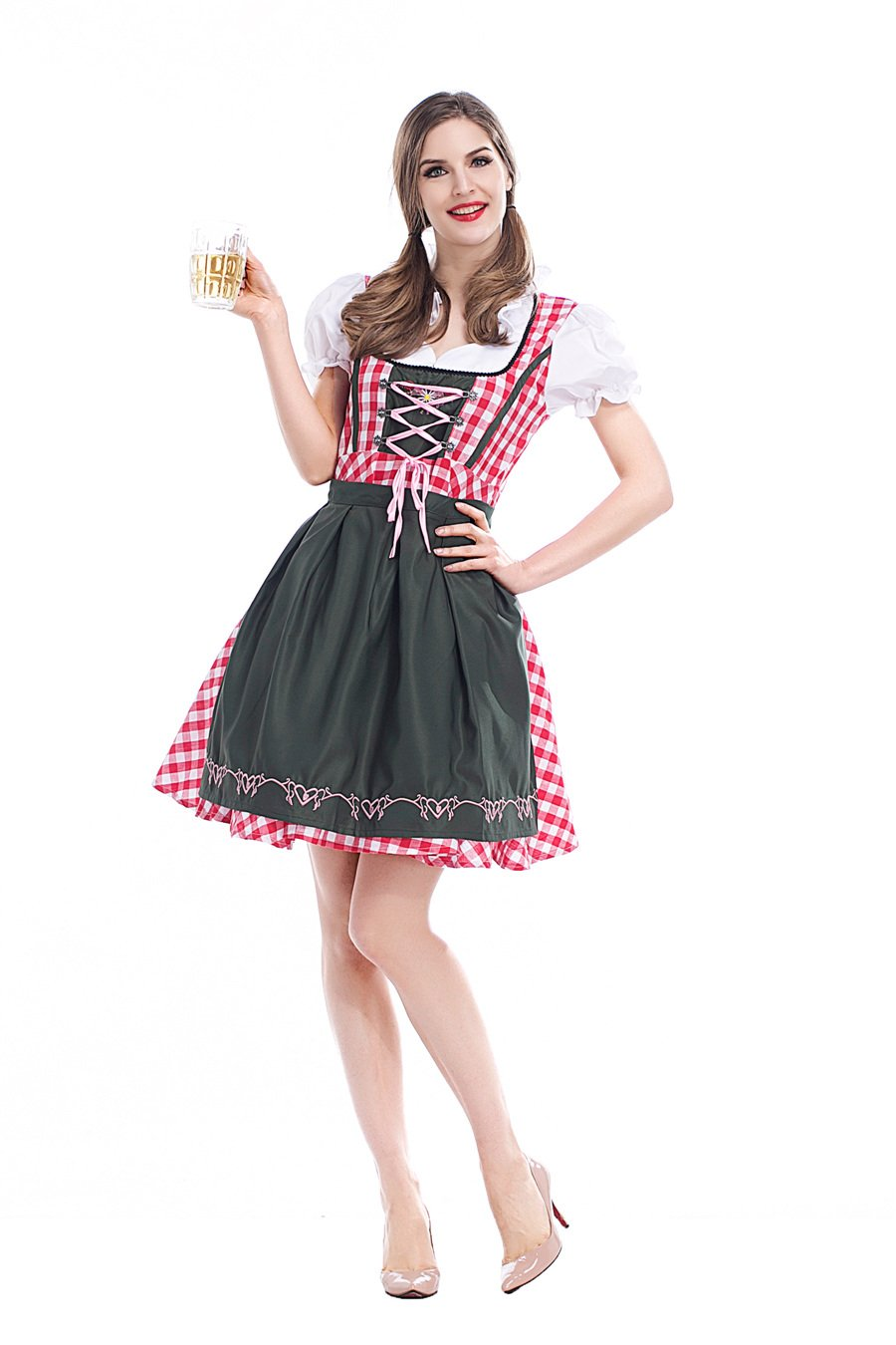 Plus Size 2XL Bavarian Maid Cosplay Costume Oktoberfest Dress Beer Girl Carnival Waitress Uniform