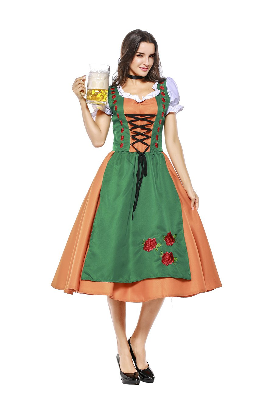 Bar Waitress Uniform Oktoberfest Costume Plus Size XL Carnival Beer Girl Fancy Dresses