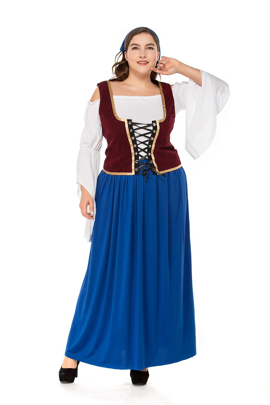 Plus Size German Women Oktoberfest Dress Mardi Gras Blue Cosplay Bavarian Waitress Costume