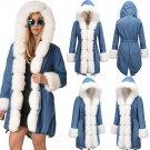 Super Size 2XL Winter Denim Jacket Women Celebrity Parka Faux Fur Hooded Coats
