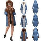 Celebrity Women Parka Faux Fur Collar Hooded Coats Long Fashion Denim Jacket Outerwear
