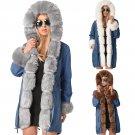 Plus Size 2XL Faux Fur Hooded Coats Women Denim Jacket Outerwear Female Thick Parker Hannifin