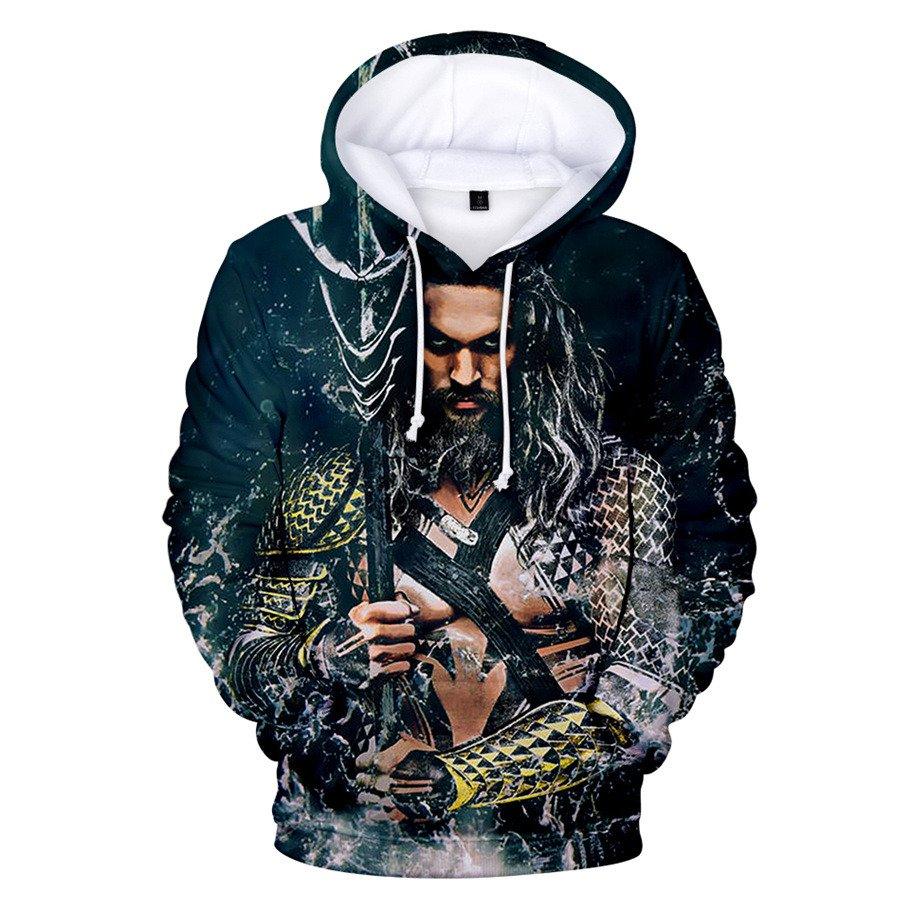 Plus Size Men Arthur Curry Hoodies 2XL Winter Super Hero Orin Tops Aquaman Sweatshirts