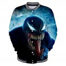 Super Size 4XL Superhero Coat Venom Print Baseball Bomber Thick Winter Letterman Jacket
