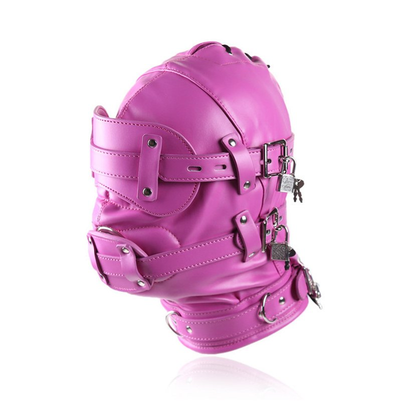 Pink Adult Fetish Headgear Latex Strap-on-dildos PU Steampunk SM Club Sexy Head Mask with Dildo