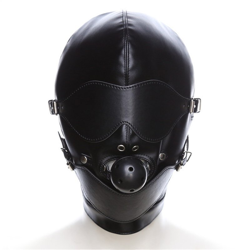 Erotic Latex Catsuit Mask SM Ball Cosplay Head Mask Fetish Sexy PU Headgear With Mouth Gag