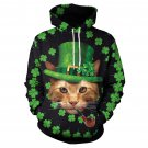 St. Patricks Hoodies Casual Holiday Sweatshirt Shamrocks Tops Sweetheart Animal Cat Streetwear