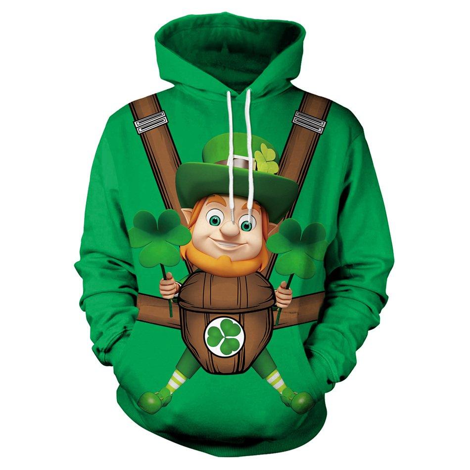 Casual Holiday St. Patricks Day Sweatshirt Fashion Shamrocks Streetwear Green Leprechaun Hoodies
