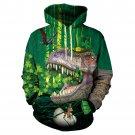 Men 3D Dinosaur Printed Sweatshirt Green St. Patrick's Day Streetwear Winter Novelty Male Hoodies