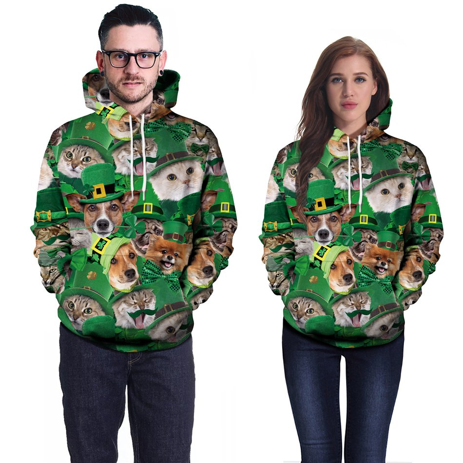 Leprechaun Tops Lover Streetwear Dog Cat Hoodies Plus Size Casual St. Patrick's Day Sweatshirt