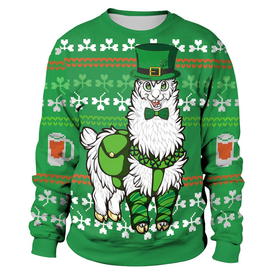 3D Print Alpaca Winter Streetwear Hoodies Leprechaun Hat Outerwear St. Patrick Day Sweatshirt