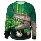 3D Print Dinosaur Winter Outerwear St. Patrick's Day Sweatshirt Green Leprechaun Hat Streetwear