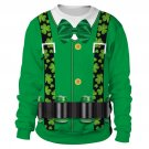 2XL Size St. Patrick's Day Knits Casual Ireland Holiday Couple Tops Digital Print Shamrocks Hoodies