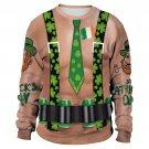 Plus Size XXL Novelty Suspender Print Spring Sweatshirts Long Sleeve Green St. Patrick Day Hoodies