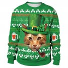 Mr Cat Leprechaun Sweatshirts Male Novelty Outerwear Men Green St. Patrick's Day Hoodies