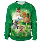 Ladies Green St. Patrick's Hoodies Miss Cat Leprechaun Coat Sweatshirts Women Shamrocks Clothing