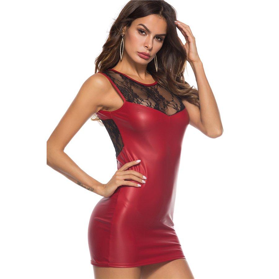 Plus Size 2XL Summer Party Mini Dresses Sexy PVC Dress Faux Leather Fetish Bar Night Club Wear