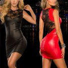 Fetish Night Club Wear Faux Leather Mini Dresses Sexy PVC Club Dress
