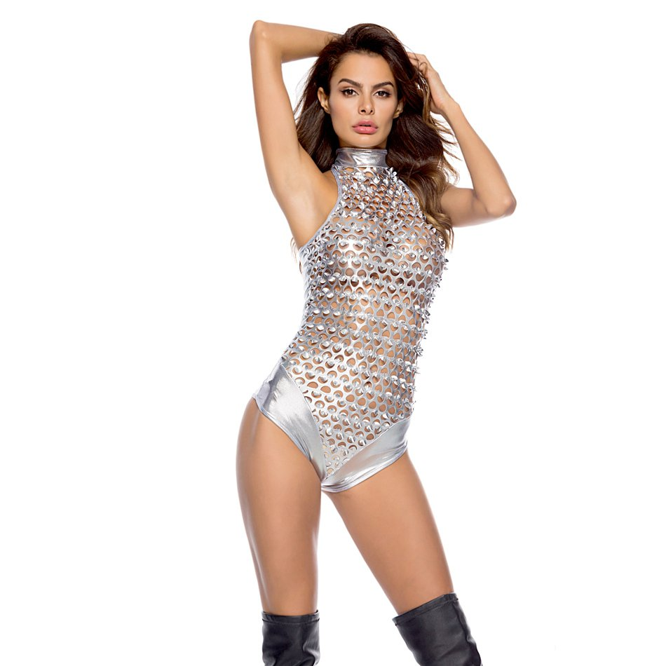 Sexy Motorcycle Jumpsuit Hollow Patent Leather Club Pole Dance Costume Hole PVC Catwoman Bodysuit