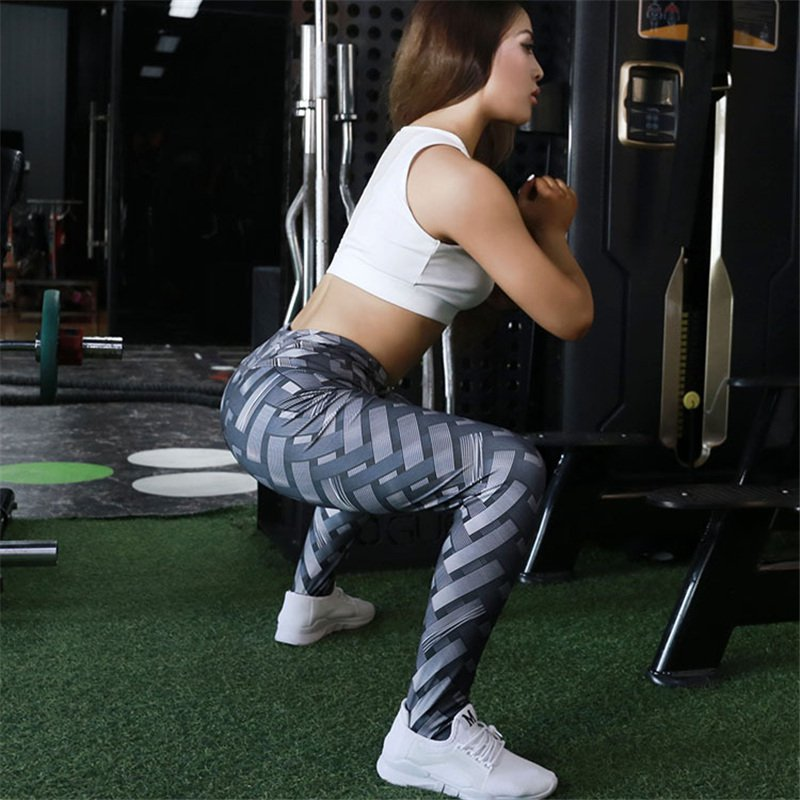 Weaving Printed Fitness Leggings Sport Pushup Work Out Trousers FITWAVE Skinny Active Pants