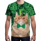 Men Summer T-shirts Leprechaun Hat Outerwear St. Patrick's Day Tops Animal Cat Print Tees