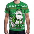 Big Size Alpaca Print T-shirts Animal Print Tees Leprechaun Tall Outerwear St. Patrick's Day Tops