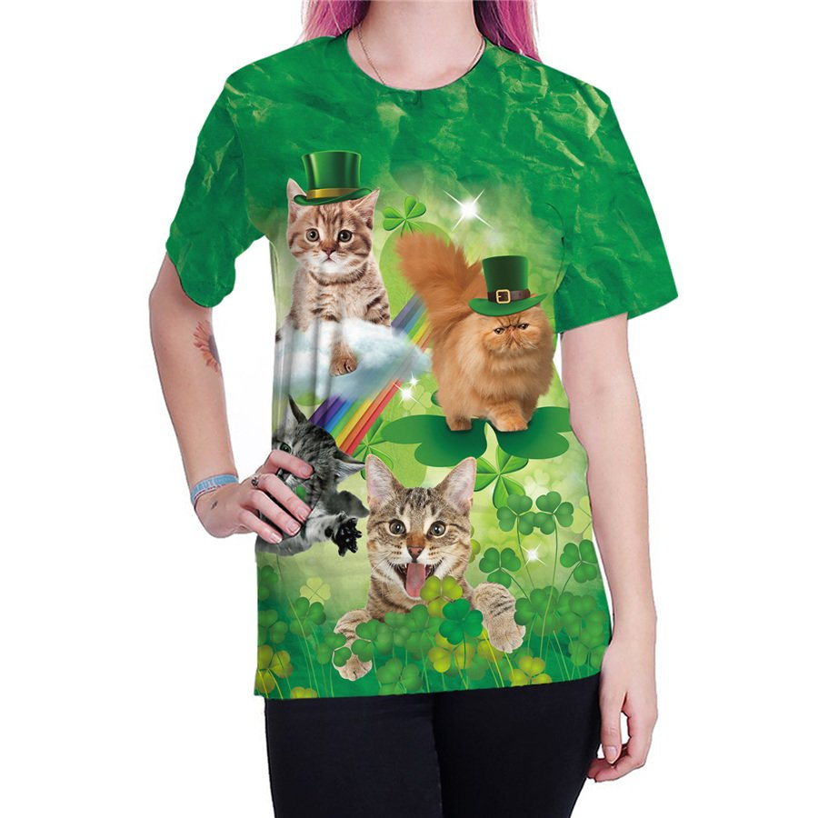 Women St. Patrick Day Tops Fashion Printing Blouses Leprechaun Short Sleeve Animal Print T-shirts