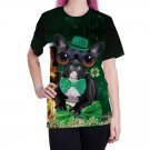 Women St. Patrick Day Tees Fashion Dog Printing T-Shirts Green Leprechaun Animal Print Tops