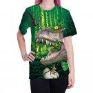 Women St. Patrick Day Blouses Casual Dinosaur Shirts Green Leprechaun Streetwear