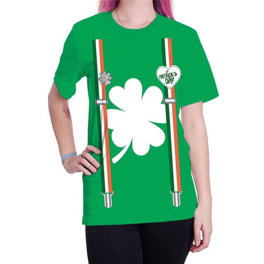 Women Shamrocks Blouses St. Patrick's Day T-shirts Summer Fashion Ladies Leprechaun Tops