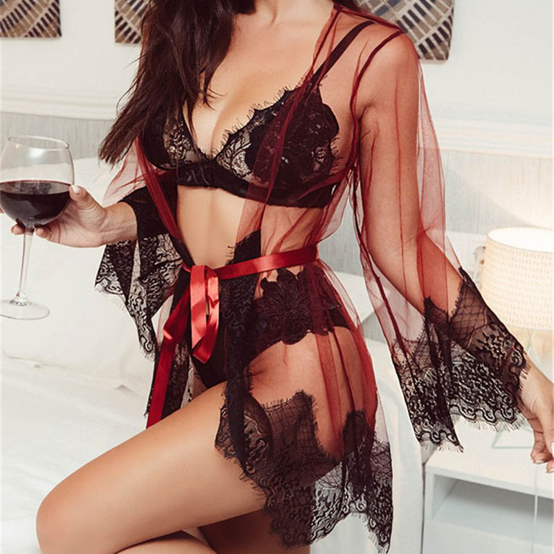 Red Mesh Nightwear Underwear Women Sleep Tops Sheer Valentine Nightgown