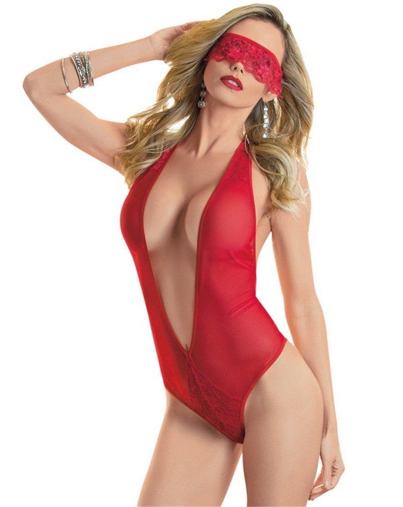 Red Erotic Transparent Teddies Lingerie Sexy Mesh Valentine Underwear