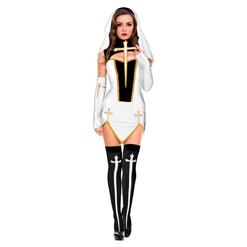 White Virgin Mary Cosplay Fancy Dress Halloween Monasticism Uniform Sexy Nun Cos Costume