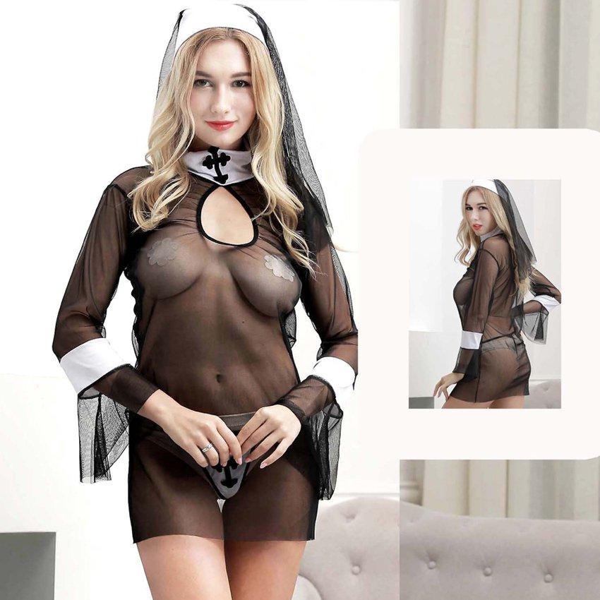 Virgin Mary Cosplay Fancy Dress Halloween Monasticism Clubwear Sexy Nun Cos Lingerie