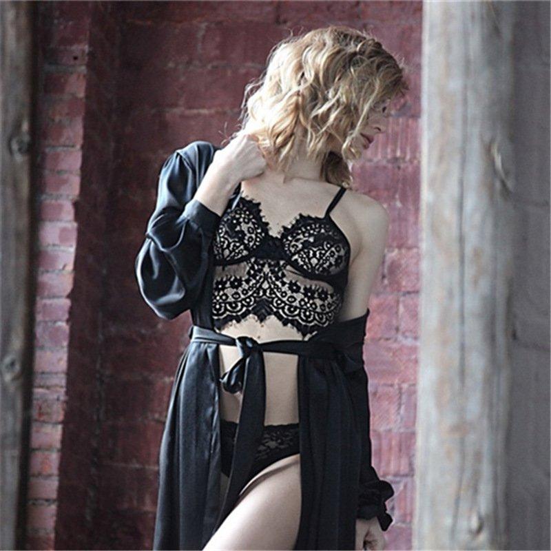 Erotic Valentine Lingerie Eyelash Lace Spaghetti Straps Wire Free Fetish Sheer Bras Sets