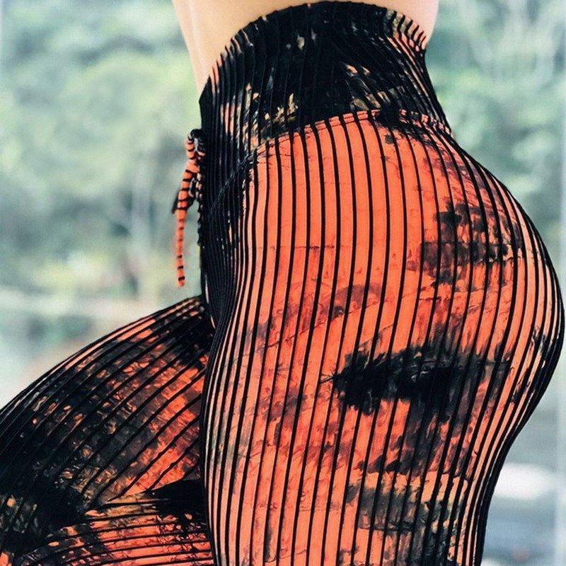Digital Striped Printed Work Out Leggings Fashion Sport Wear