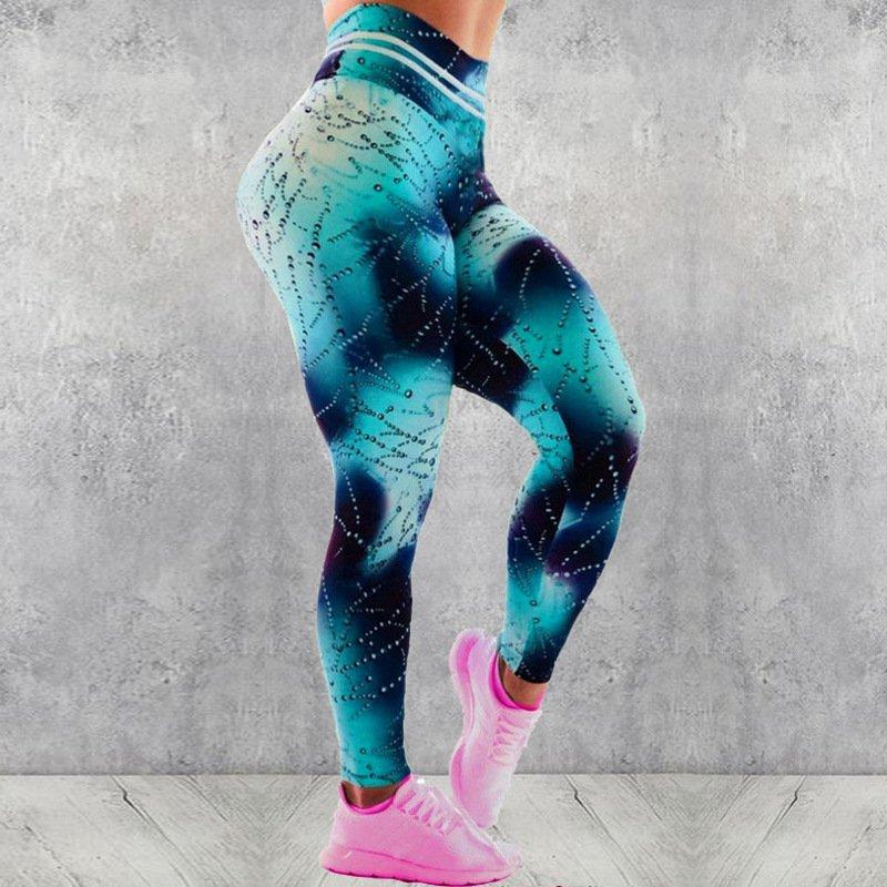 3D Digital Drip Printing Sport Pants Fitness Leggings Women Skinny Active Wear