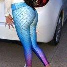 Sexy Fish Scales Mermaid Printing Pants Women Skinny High Waist Leggings