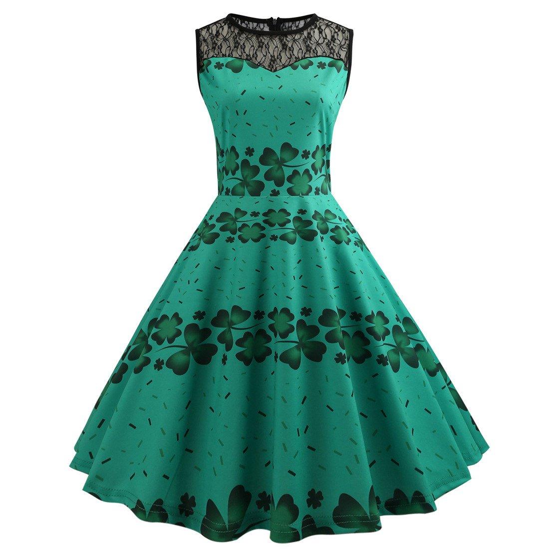 Fashion Ireland Streetwear Shamrocks Print Retro Party Dresses St. Patrick's Day Vintage Dress