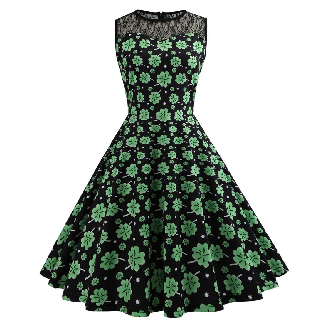 Shamrocks Printed Retro Party Dresses St. Patrick's Day Casual Dress Fashion Wear