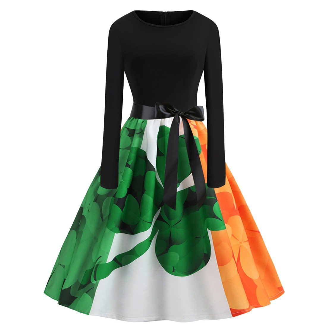 St. Patrick's Day Vintage Ireland Flag Casual Dress Retro Party Dresses Shamrocks Fashion Apparel