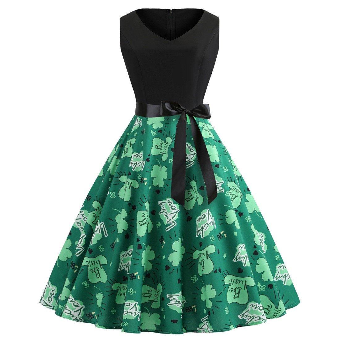 St. Patrick Casual Dresses Vintage Party  Dress Fashion Ireland Plus Size Shamrocks Printed Clothing
