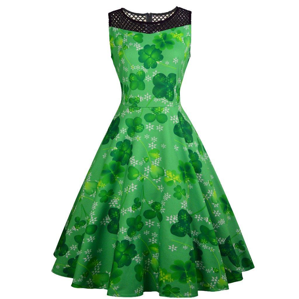 Vintage Party Dress St. Patrick Casual Dresses Shamrocks Plus Size Clothing Fashion Ireland Wear