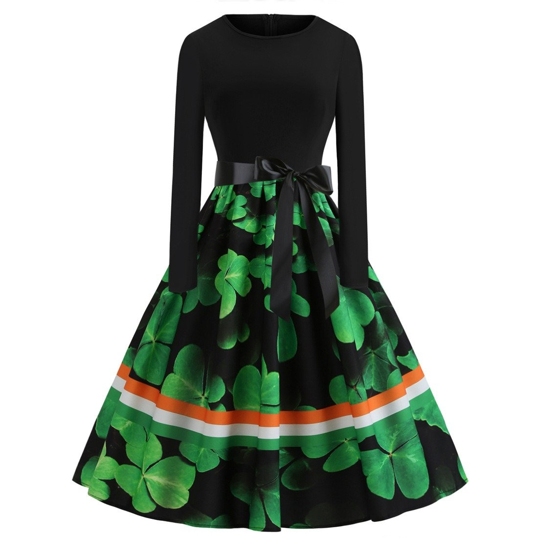 St. Patrick Plus Size Vintage Casual Dresses Retro Midi Party Dress Shamrocks Ireland Clothing