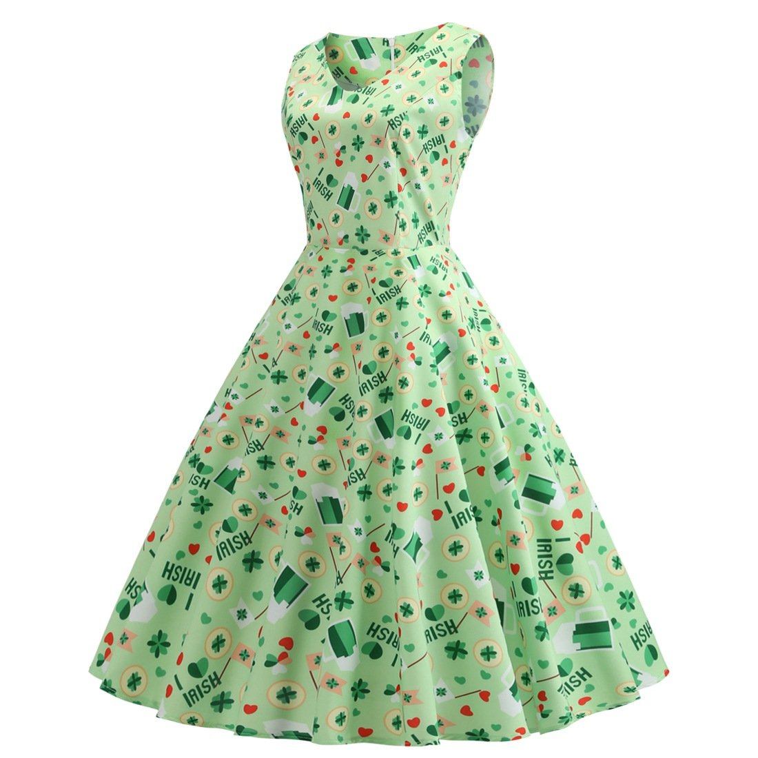 Ireland Shamrocks Printed Plus Size Vintage Midi Dresses St. Patrick's Day Retro Party Dresses