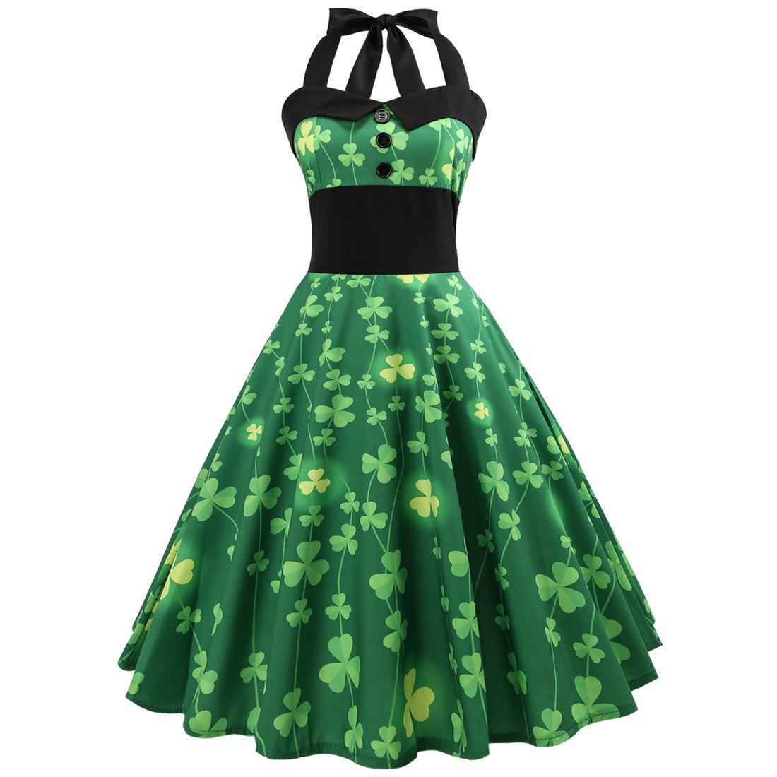 St. Patrick's Day Vintage Party Dresses Shamrocks Printed Plus Size Halter Retro Midi Dresses