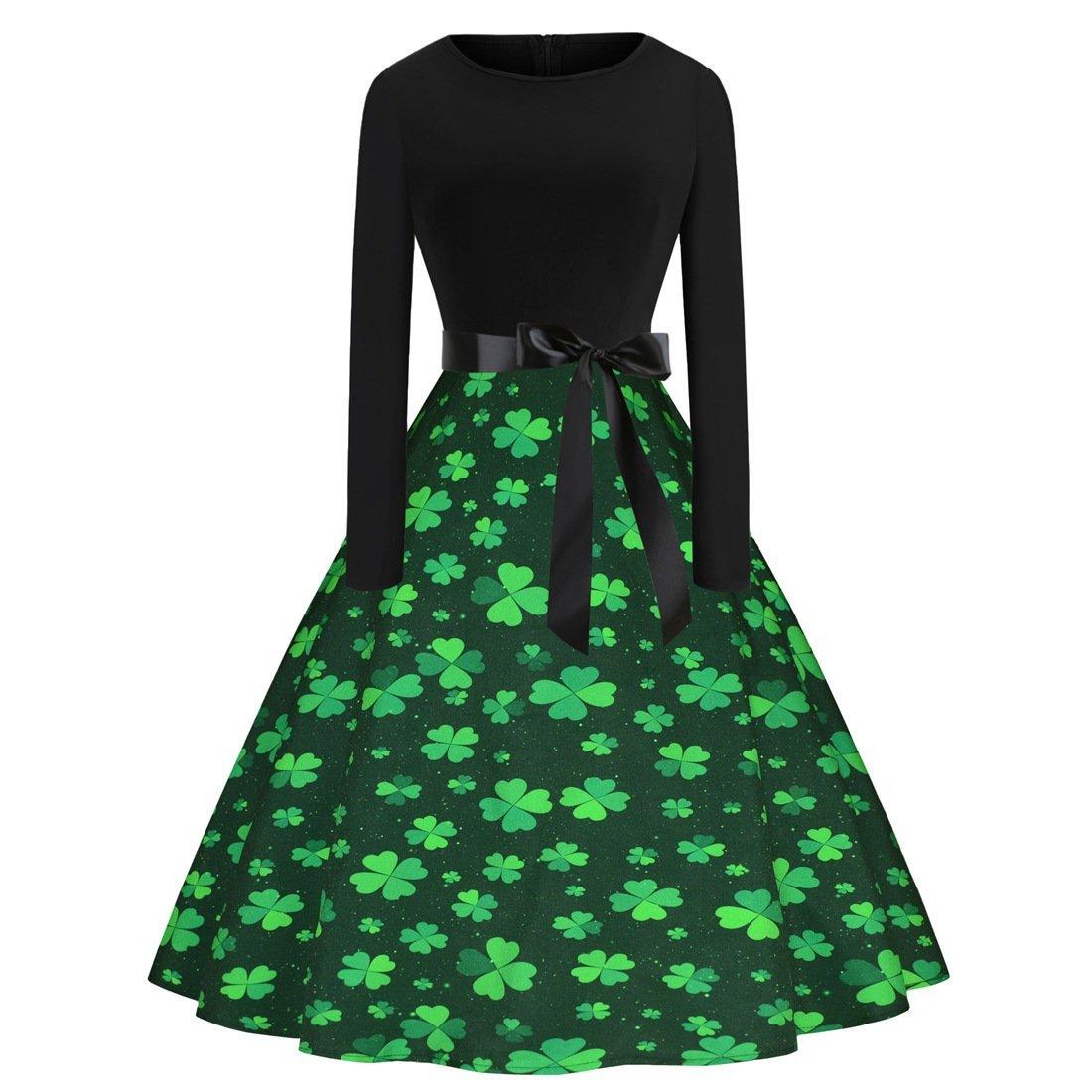 St. Patrick's Day Casual Vintage Dress Shamrocks Fashion Clothing Retro Midi Party Dresses